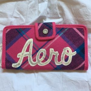 New Aero wallet/Wristlet pink and blue plaid